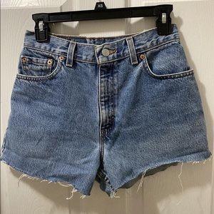 High waisted Levi denim shorts